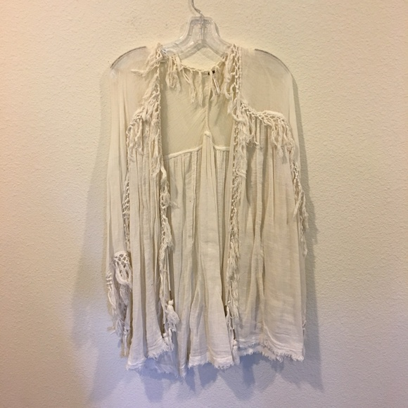 Free People Sweaters - Free People cream fringe sweater